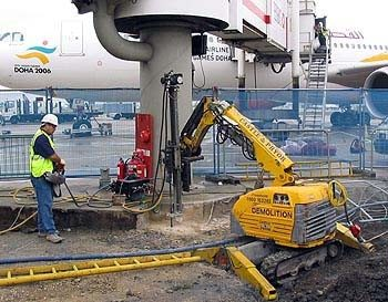 Brokk Rock Drilling for Concrete Removal at Gatwick